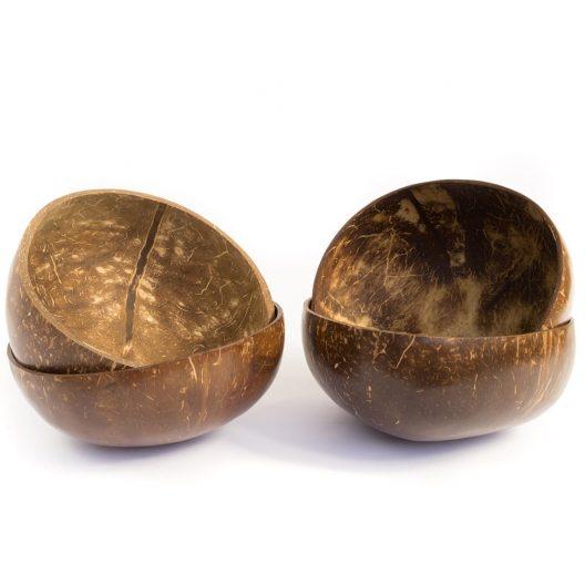Los 4 cuencos de coco del set Familiar de Boles de Coco de Bali Boo