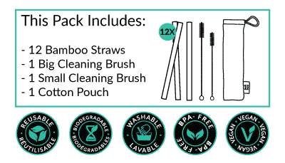 what is included in our bamboo straw pack of 12