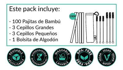 Cañitas de Bambú - Pack de 100