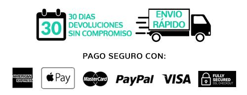30 dias de devolucion gratuita, envio rápido y logos de checkout seguro