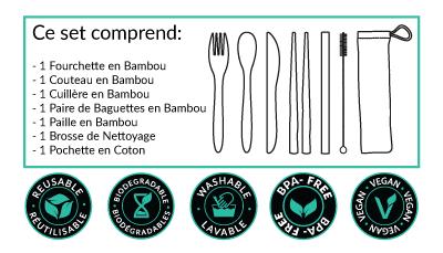 ce qui est inclus dans notre kit de couverts en bambou réutilisable