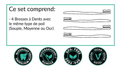 ce qui est inclus dans notre pack de 4 brosses à dents en bambou